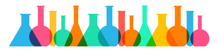 Colorful illustration of lab flasks and beakers